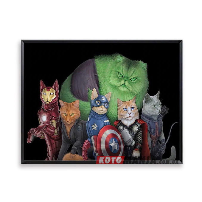 """Постер з котами-супергероями """"Коти-месники"""""""