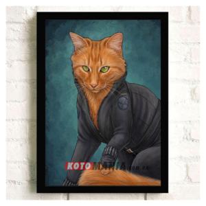"""Постер з котом-супергероєм """"Чорна вдова"""""""