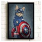 """Постер з котом-супергероєм """"Капітан Америка"""""""
