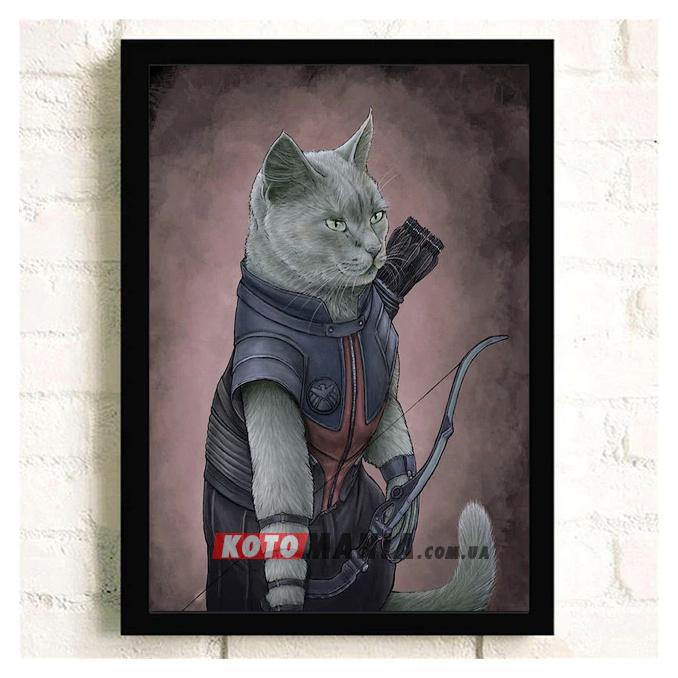 """Постер з котом-супергероєм """"Соколине око"""""""
