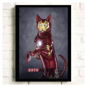 """Постер з котом-супергероєм """"Залізна людина"""""""