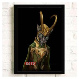 """Постер з котом-супергероєм """"Локі"""""""