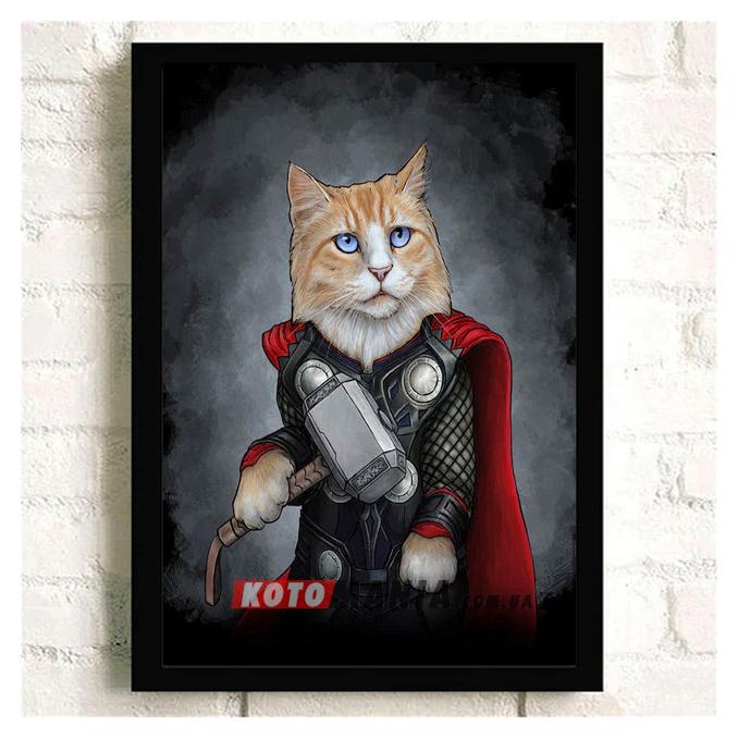 """Постер з котом-супергероєм """"Тор"""""""