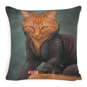 """Чохол для подушки кіт-супергерой """"Чорна вдова"""""""