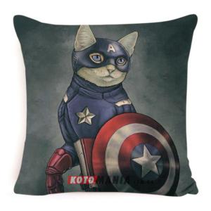Декоративна подушка кіт-супергерой Капітан Америка