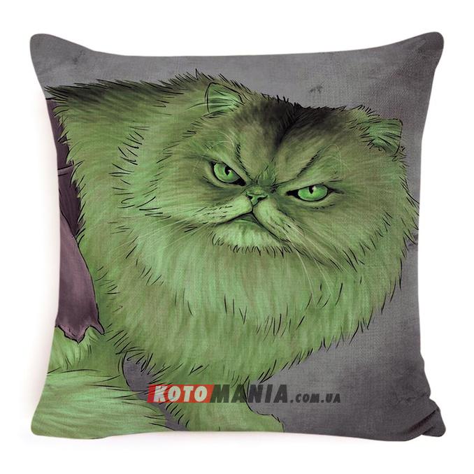 """Декоративна подушка кіт-супергерой """"Халк"""""""