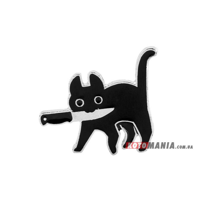 """Значок """"Черный кот с ножем"""""""