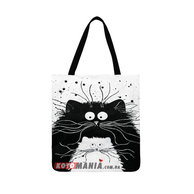 "Эко-сумка чёрно-белая ""Котёнок"""