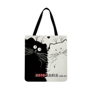 "Эко-сумка чёрно-белая ""Кошачья пара"""