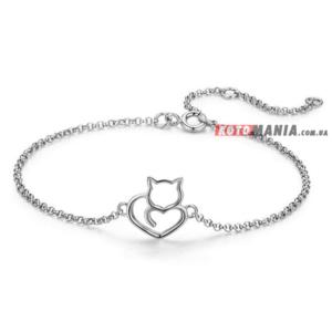 Срібний браслет Я обожнюю котів