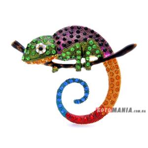Брошка Хамелеон фіолетовий