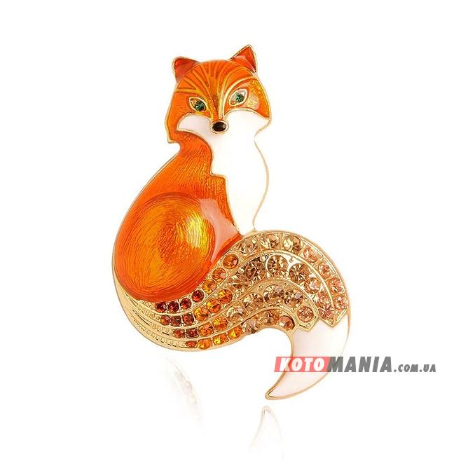 Брошка Лисонька помаранчева