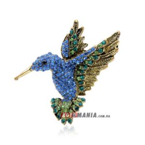 Брошка Колібрі блакитна