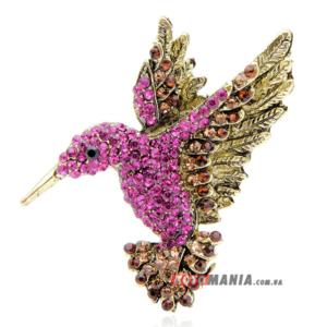 Брошка Колібрі рожева