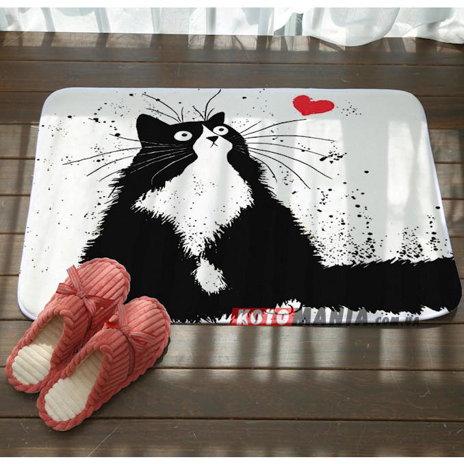 Килимок чорно-білий Кіт з сердечком
