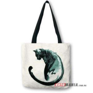 Еко-сумка Акварельний чорний кіт