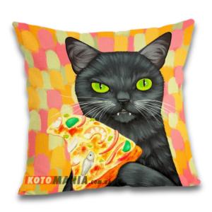 Чохол для подушки Чорний кіт із піцею