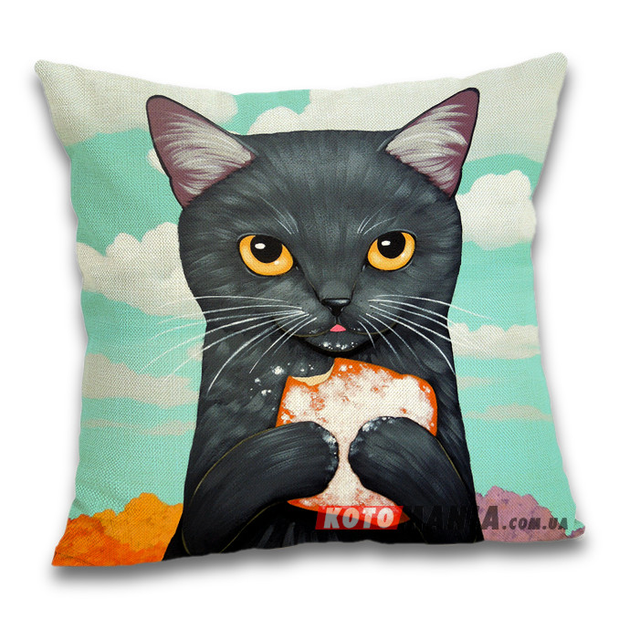 Чохол для подушки Чорний кіт з печивом