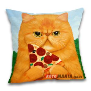 Чохол для подушки Рудий кіт з піцею