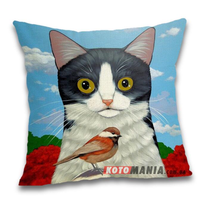 Чохол для подушки Кіт з птахою