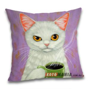 Чохол для подушки Кіт з кавою