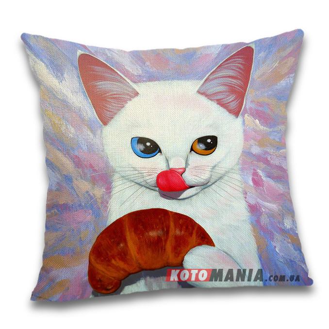 Чохол для подушки Кіт з круасаном
