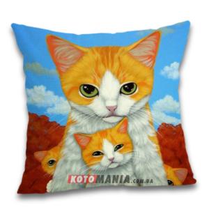 Чохол для подушки Кіт з кошенятами