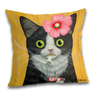 Чохол для подушки Кіт з сигаретою