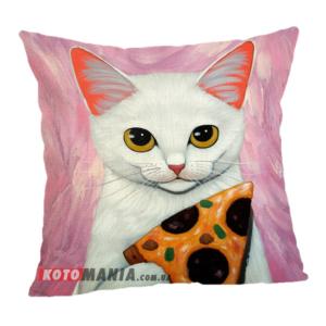 Чохол для подушки Білий кіт з піцею