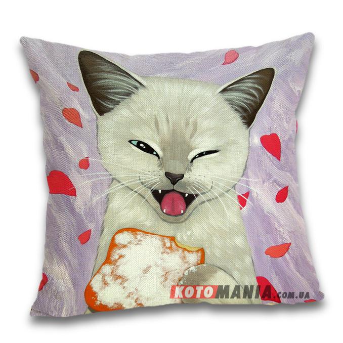 Чохол для подушки Білий кіт з печивом