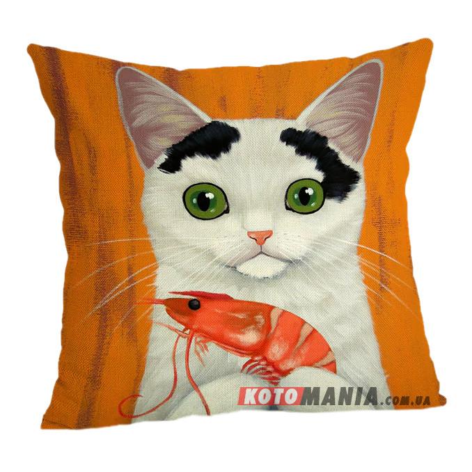 Чохол для подушки Кіт з креветкою