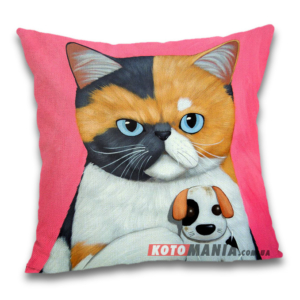 Чохол для подушки Кіт з куклою вуду собачки