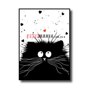 """Постер черно-белый """"Кот-мечтатель"""""""