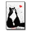 """Постер черно-белый """"Кот с сердечком"""""""