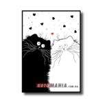 """Постер черно-белый """"Кошачья пара"""""""