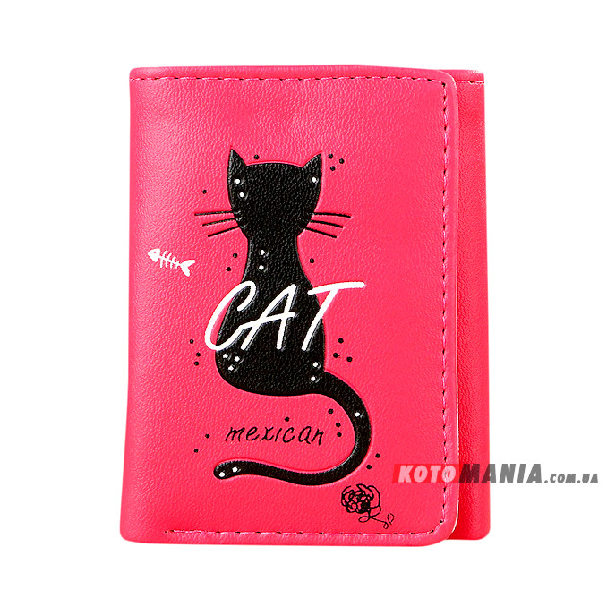 Портмоне жіноче Мексиканський кіт червоно-рожевий