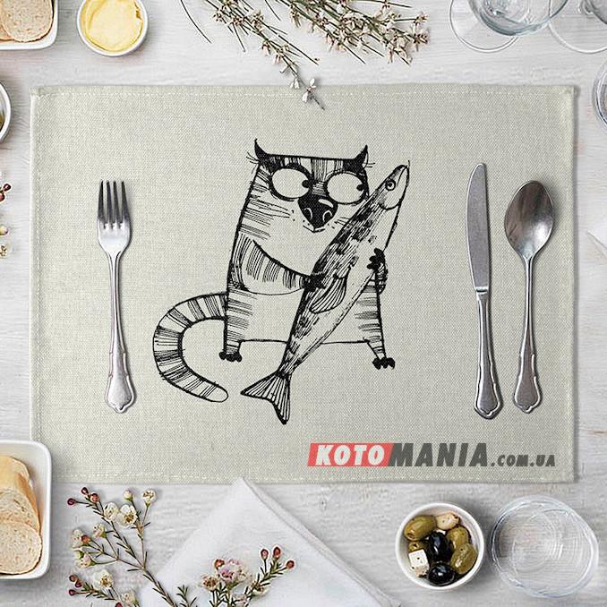 Підставка на стіл для сервірування Кіт з рибою