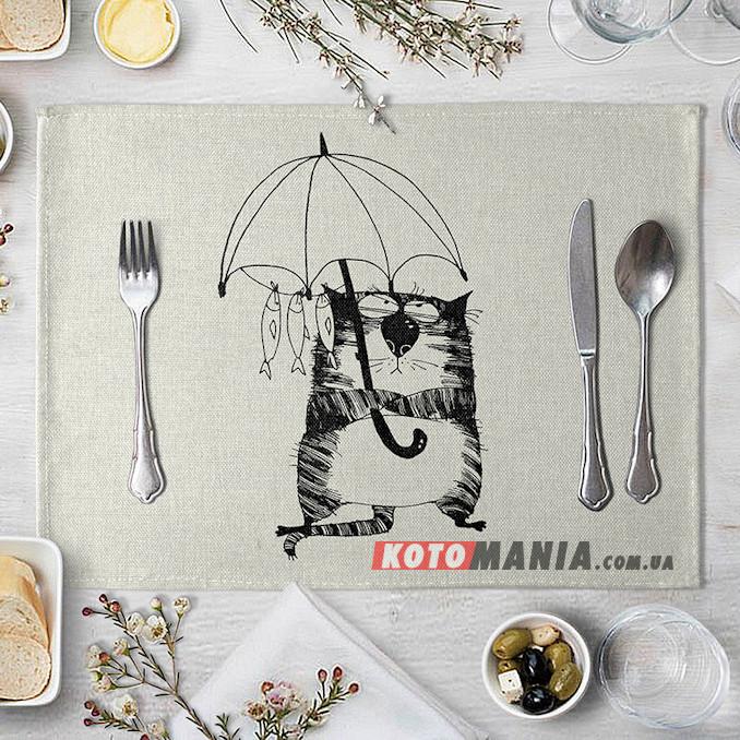 Підставка на стіл для сервірування Кіт з парасолькою