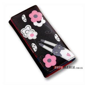 Гаманець жіночий Кіт на квітковій галявині чорний