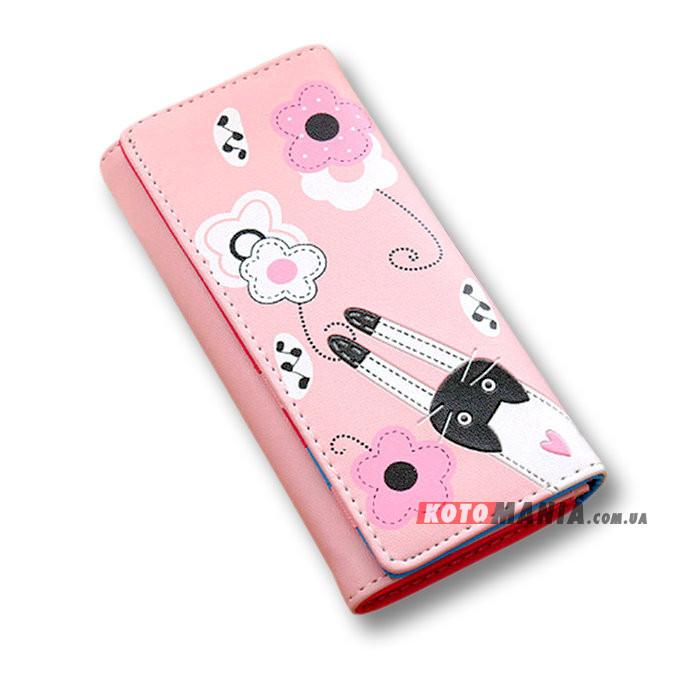 Гаманець жіночий Кіт на квітковій галявині рожевий