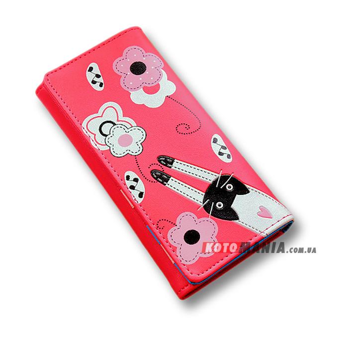 Гаманець жіночий Кіт на квітковій галявині червоно-рожевий