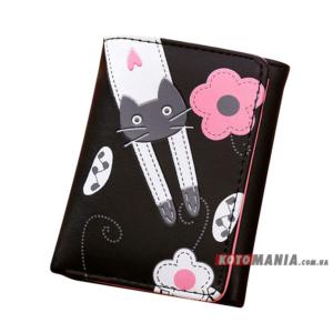 Портмоне жіноче Кіт на квітковій галявині чорний