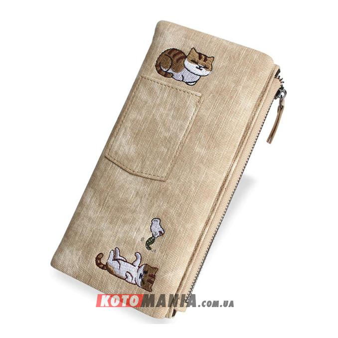 Кошелек женский с карманом «2 кота» бежевый
