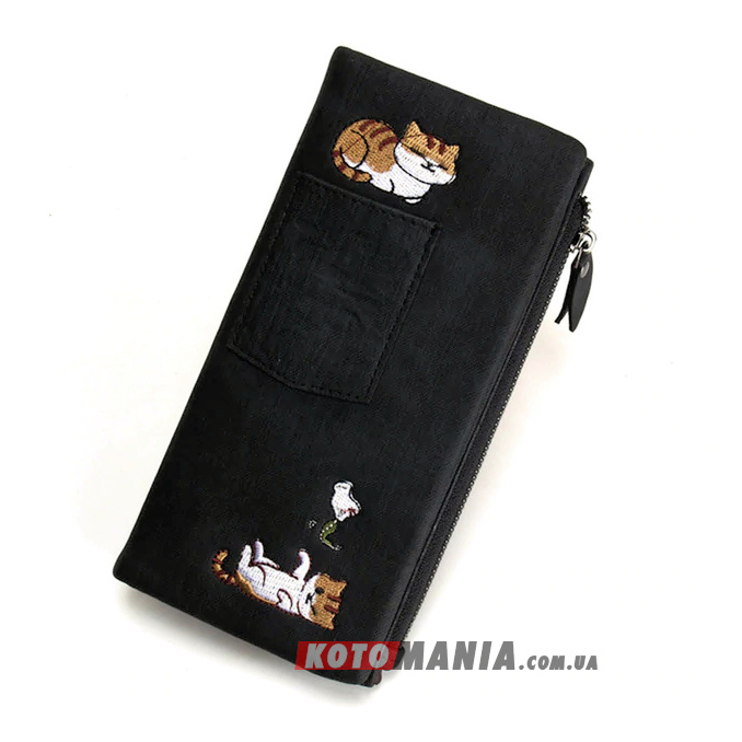 Кошелек женский с карманом «2 кота» черный