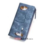 Гаманець жіночий з кишенею Два кота синій