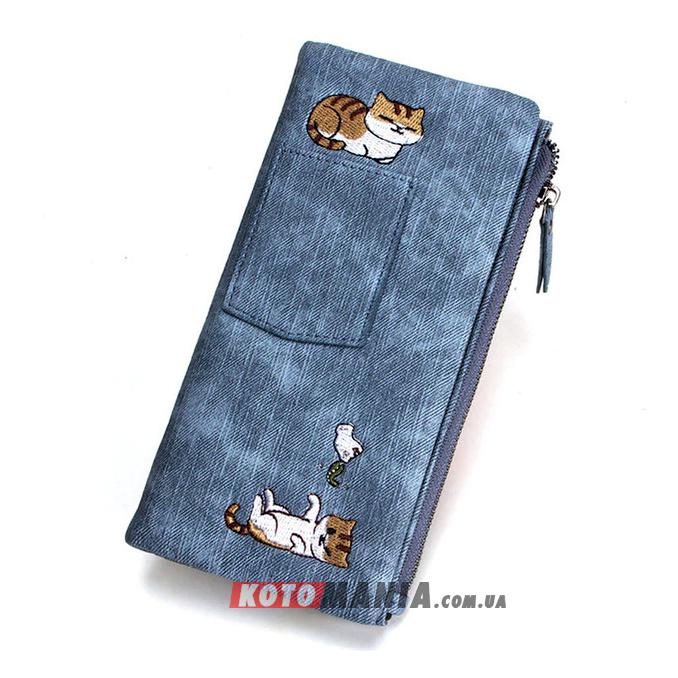 Кошелек женский с карманом «2 кота» синий