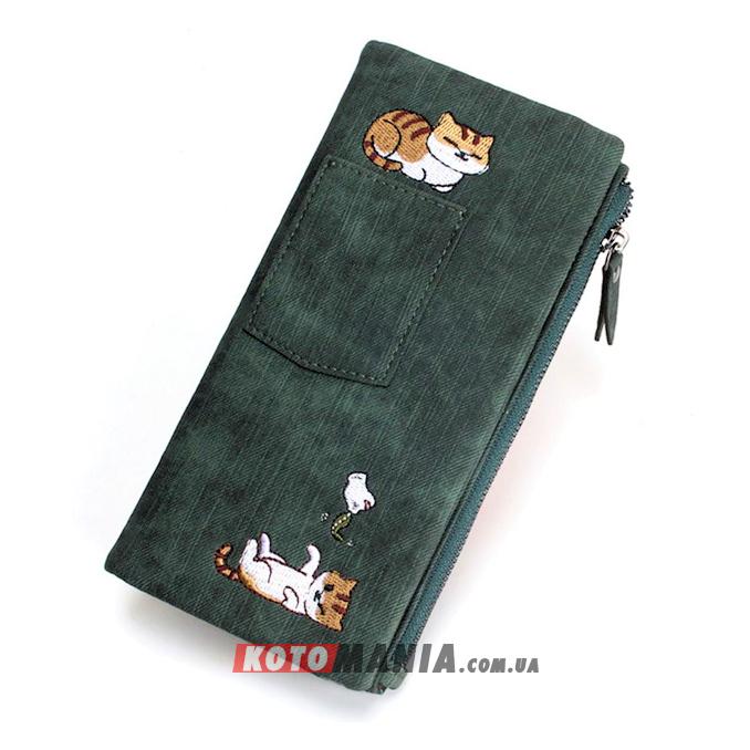Кошелек женский с карманом «2 кота» зеленый