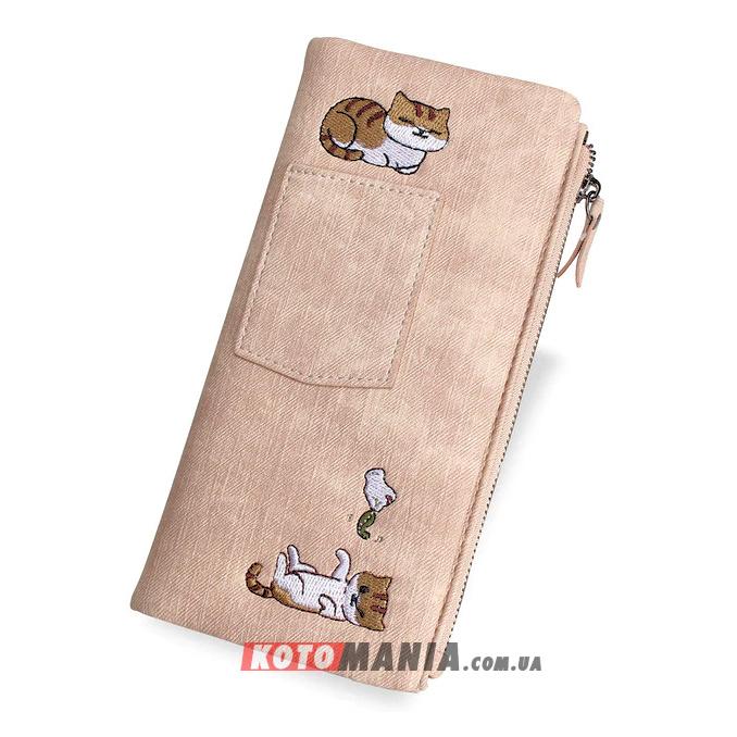 Кошелек женский с карманом «2 кота» розовый