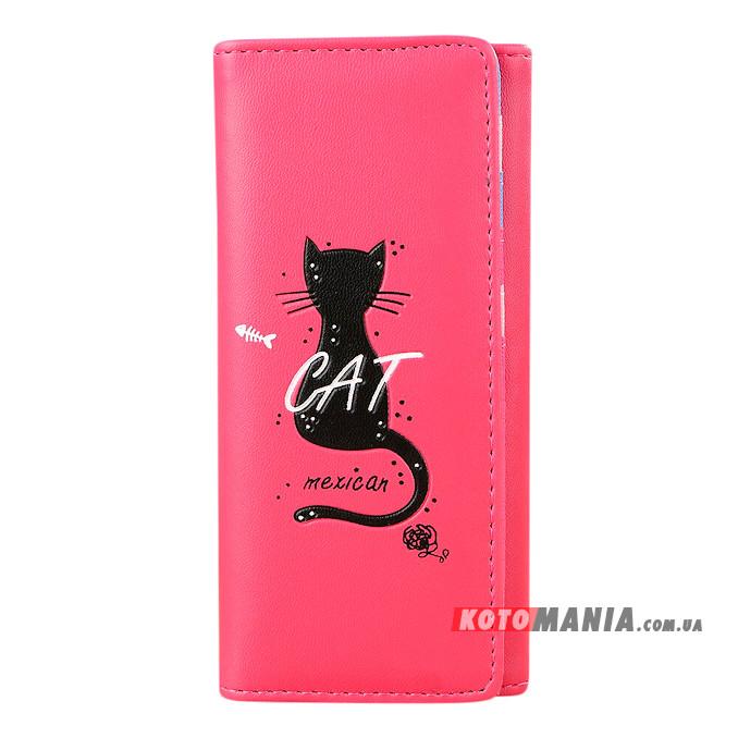 Гаманець жіночий Мексиканський кіт рожево-червоний